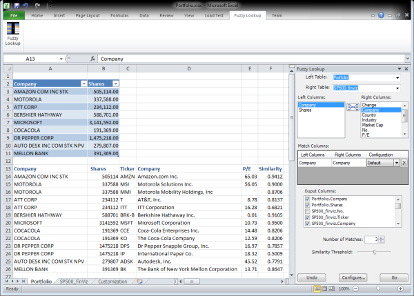 Fuzzy Lookup for Excel Beta - Atidan